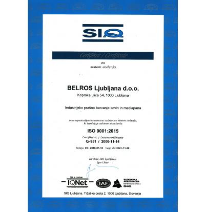 Belros-prasno-barvanje-certifikat-kakovosti